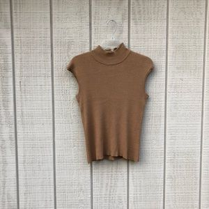 Coldwater Creek camel tan turtleneck blouse, XS